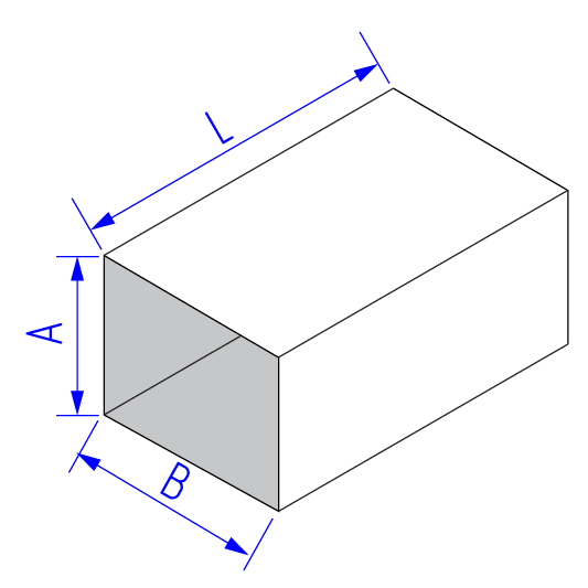 Прямой участок прямоугольного воздуховода