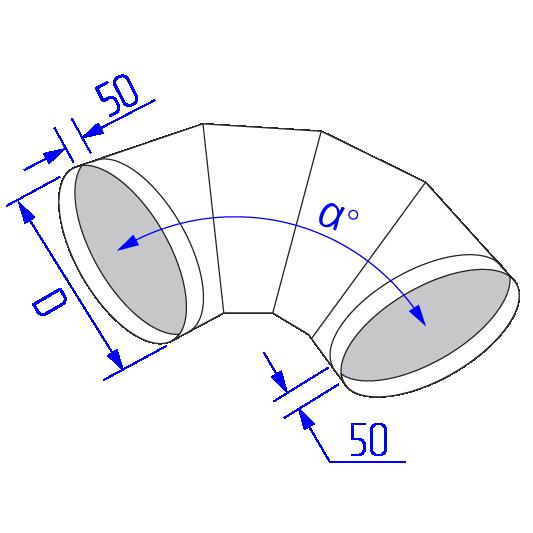 Отвод круглого воздуховода